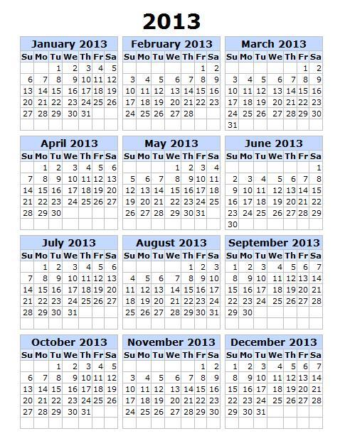 Template, 2012 - Calendar 2013 Printable (calendar2013) - Ygraph.com ...